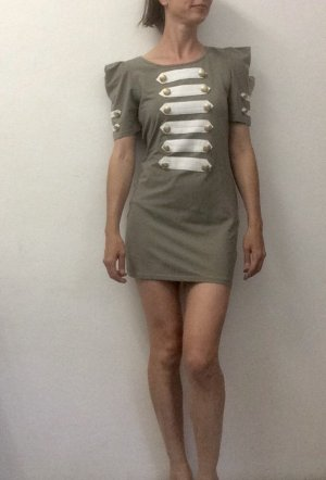 AX Paris Vestido de tela de jersey caqui-blanco puro