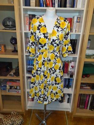 feminines verspieltes Kleid sommer YAS Gr. L Sommerkleid weiß gelb schwarz
