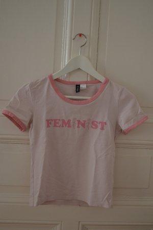Feminist Shirt Rosa Oberteil Feministin Rosen 70er 70s