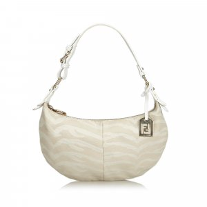 Fendi Animal Print Canvas Baguette