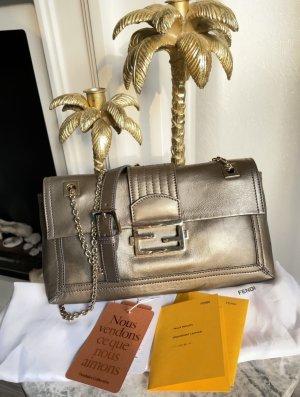 Fendi Baguette Tasche Pochette Leder metallic braun Logo Vintage sac