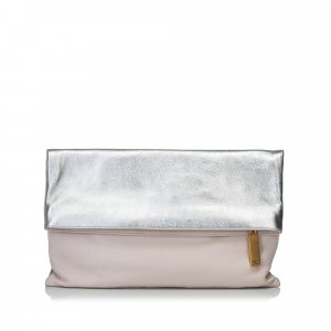 Fendi Bicolor Fold-Over Clutch Bag