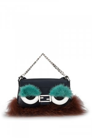 Fendi Calfskin Leather Bugs Mico Baguette