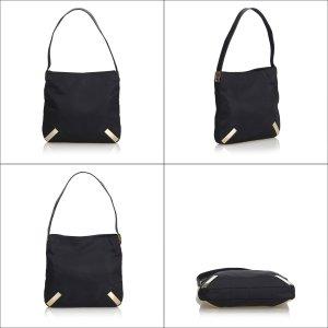 Fendi Canvas Shoulder Bag with Embossed Leather Strap