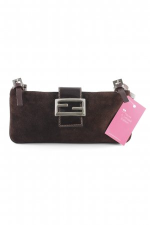 Fendi Clutch dunkelbraun-silberfarben Business-Look