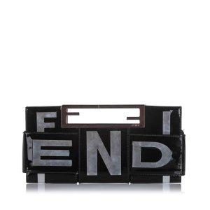 Fendi Crossword Patent Leather Clutch Bag