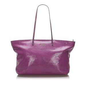 Fendi Embossed Leather Tote Bag