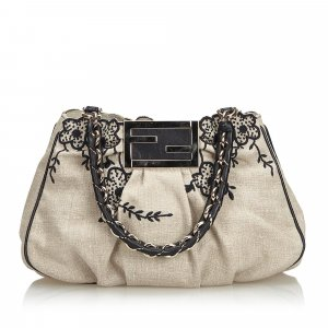 Fendi Embroidered Hemp Mia Shoulder Bag