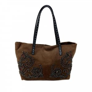 Fendi Embroidered Selleria Nubuck Tote Bag