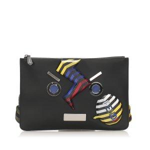 Fendi Face No Word Leather Clutch Bag