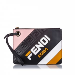 Fendi Fendi x Fila Leather Logo Clutch