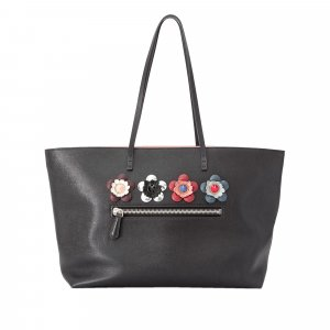 Fendi Flowerland Roll Leather Tote Bag