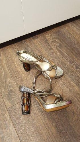 Fendi High Heels 36,5 Riemchen Kette gold/anthrazit/bernsteinfarben