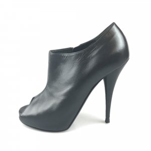 Fendi Leather Peep-Toe Platform Ankle Boot