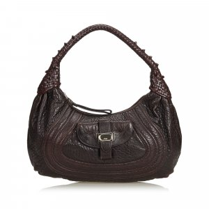 Fendi Hobos dark brown leather
