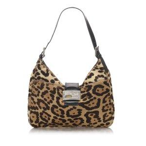 Fendi Leopard Print Pony Hair Shoulder Bag
