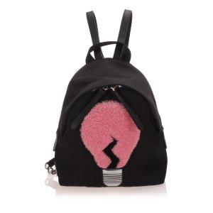 Fendi Light Bulb Shearling Nylon Backpack