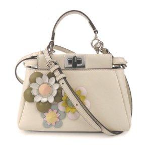 Fendi Mini Flowerland Peekaboo Leather Satchel