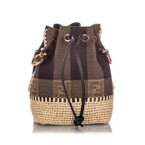 Fendi Mini Pequin Mon Tresor Canvas Bucket Bag