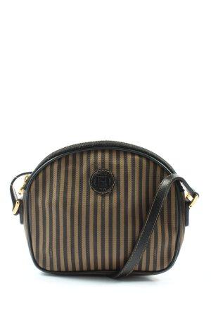 Fendi Mini sac brun-noir motif rayé style décontracté