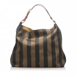 Fendi Pequin Canvas Shoulder Bag
