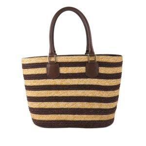 Fendi Pequin Straw Tote Bag