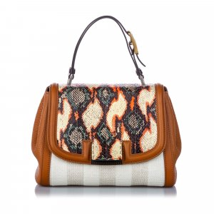 Fendi Python Trim Canvas Silvana Satchel