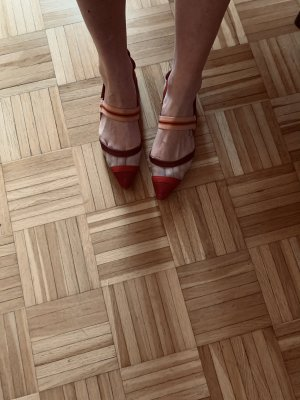 Fendi red pointed toe flats