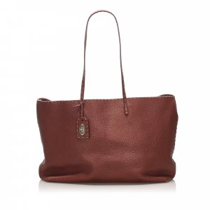Fendi Borsa larga bordeaux Pelle