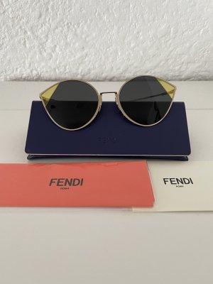 Fendi Owalne okulary przeciwsłoneczne złoto