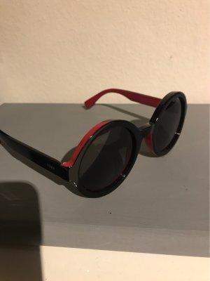 Fendi Occhiale da sole rotondo nero-rosso lampone