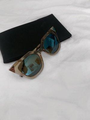 Fendi Hoekige zonnebril zwart-goud