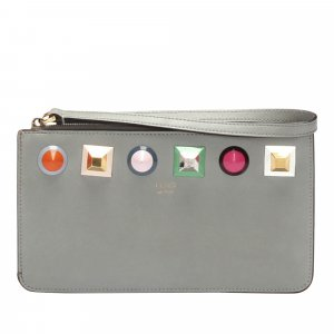 Fendi Studded Flat Leather Pouch