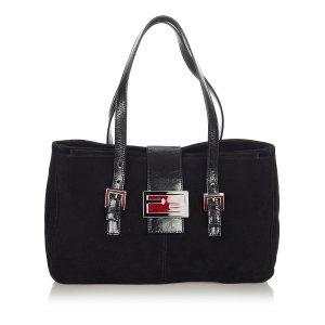 Fendi Shoulder Bag black suede