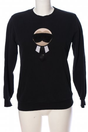 Fendi Sweatshirt schwarz Motivdruck Casual-Look