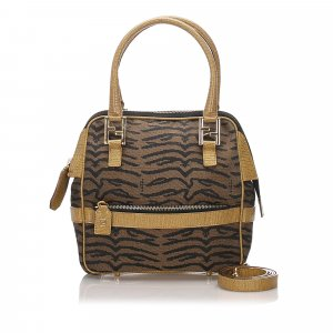 Fendi Tiger Print Canvas Satchel