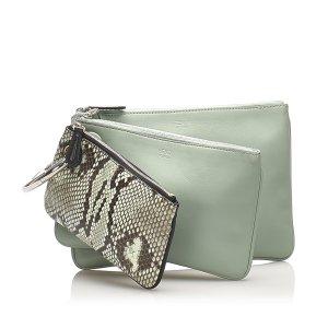 Fendi Triplette Leather Clutch Bag
