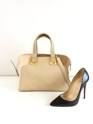 Fendi Twi Tone Duffle Bag Beige Braun Gold Hardware
