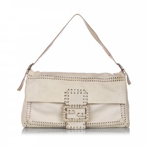 Fendi Whipstitch Leather Shoulder Bag