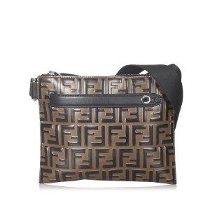 Fendi Zucca Leather Crossbody Bag