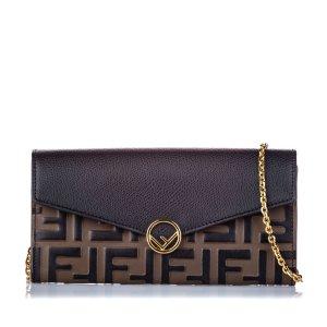 Fendi Zucca Leather Wallet on Chain