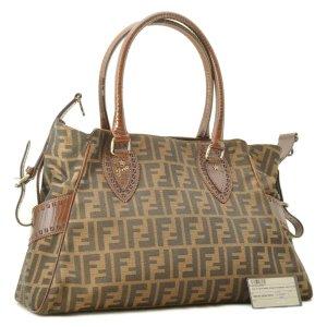 Fendi Zucca Nylon Leather Tote Bag