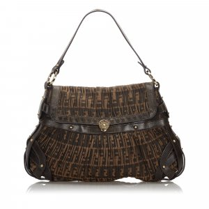Fendi Zucca Pleated Canvas Flap Shoulder Bag