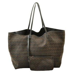 Fendi Sac fourre-tout brun fibre textile