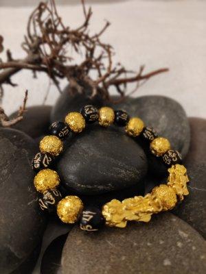 Feng Shui Obsidian Stein Perlen Armband Männer, Frauen Unisex Armband Gold Schwarz Pixiu Reichtum und Glück