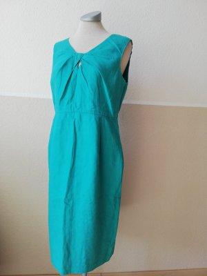Fenn Wright Manson Gr. UK 10 EUR 38 D 36 S grün kadettblau Leinenkleid Leinen Kleid Etuikleid