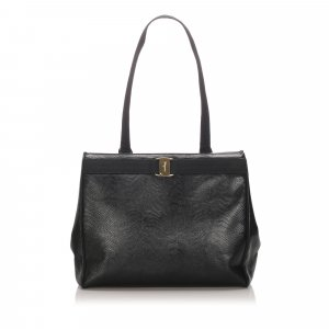 Ferragamo Embossed Leather Vara Tote
