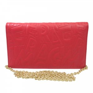 Ferragamo Embossed Leather Wallet On Chain