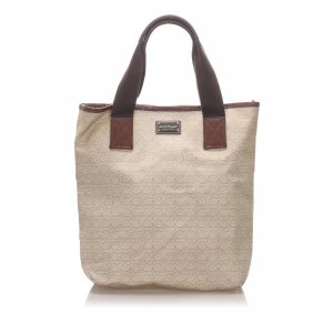 Ferragamo Gancini Coated Canvas Tote Bag