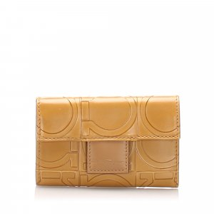 Ferragamo Gancini Embossed Leather Key Case